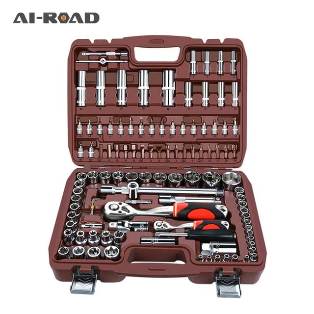 AI-ROAD Household Multifunction Car Repair Tool Kit Home DIY Set Screwdriver Socket Set Universal Ratchet Torque Wrench Bit Key 1