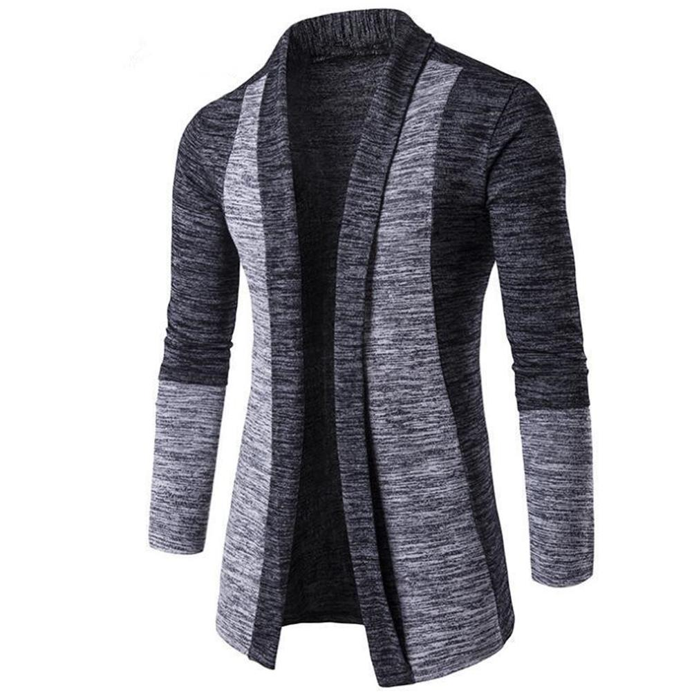 Retro Men Patchwork Long Sleeve Knitted Sweater Cardigan Coat Outwear