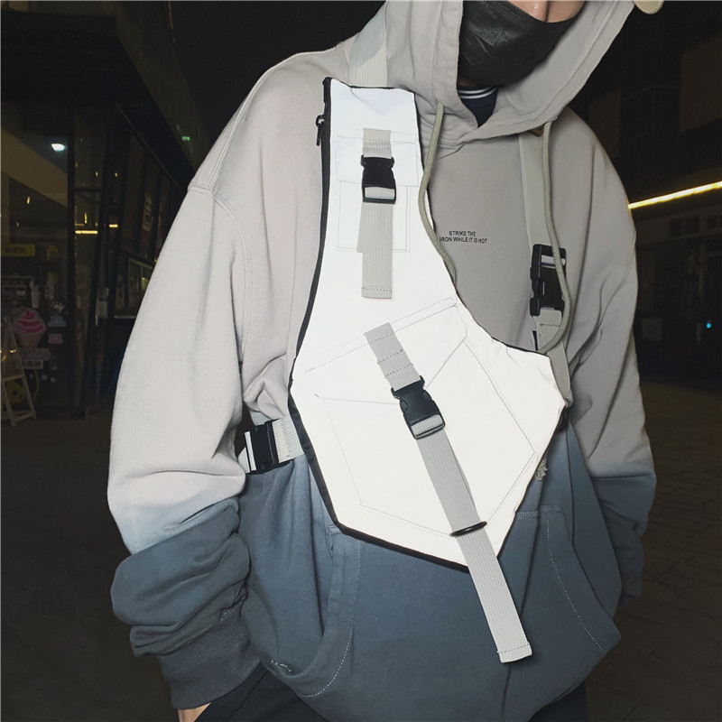 New Men Chest Rig Bag Streetwear Reflective Vest Bags Tactical  Functional Chest Bag Unisex Trend Hip-Hop Crossbody Chest Pack