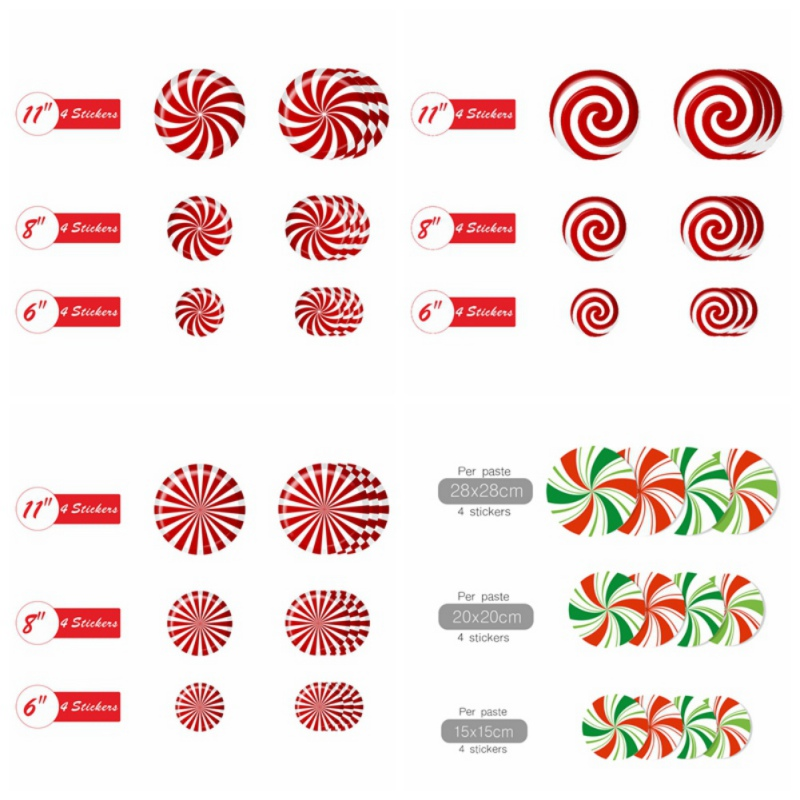 New 12 Pieces Floor Decals Stickers Self-Adhesive Candy Round Pad Floor Window Clings For Christmas Decoration Candyland Theme