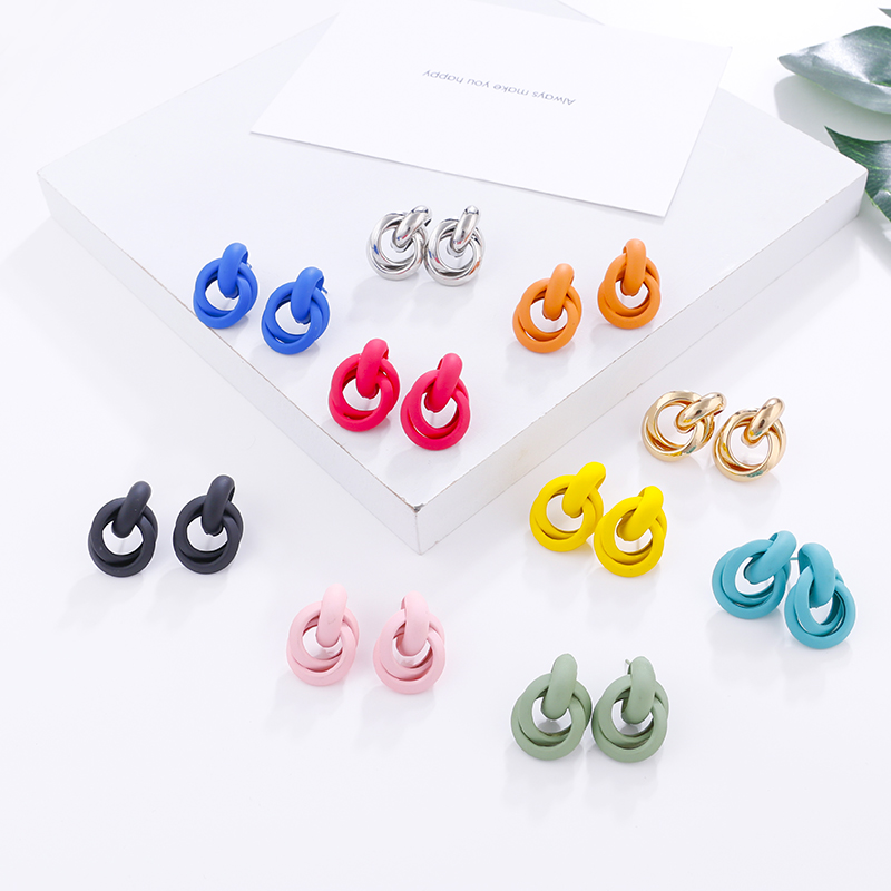 AMORCOME Trendy Colorful Metal Statement Knot Drop Earrings For Women 2019 New Fashion Simple Twisted Irregular Earrings Jewelry