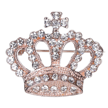 Fashion Rhinestone Style Brooch Pin Crown Design Breastpin Vintage Wedding Gift vintage rhinestone embossed figure oval brooch