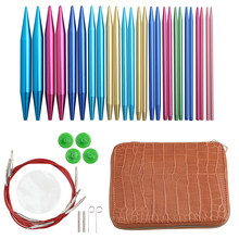 Red Color Genuine Leather Bag Circular Knitting Needles Set Interchangeable Crochet Needles Circular Knitting Needles Set 2021