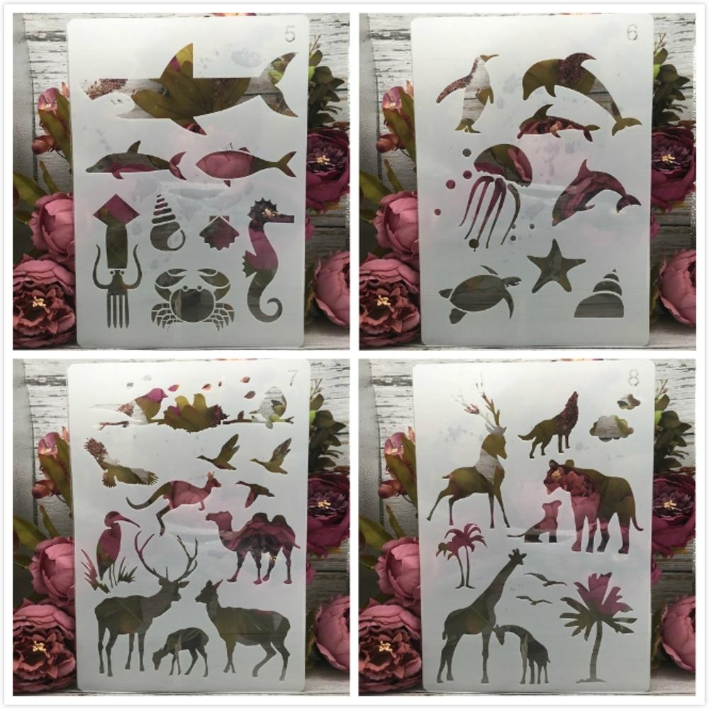 4Pcs A4 29cm Shark Giraffe Ocean Forest Animals DIY Layering Stencils Painting Scrapbook Coloring Embossing Decorative Template