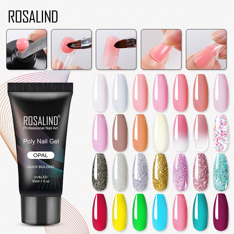 ROSALIND Poly nail gel For Nails Extension Finger nail art Manicure Acryl gel Varnish hybrid 30ML Poly UV gel polish Extension(China)