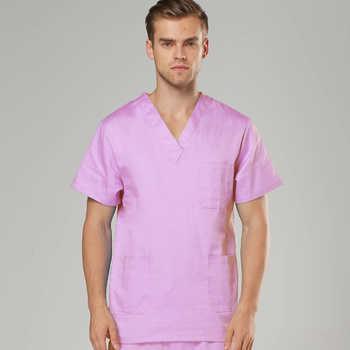 [TOP] Men\'s Short Sleeve V Neck COTTON Super Comfy Medical Scrubs TOP / Nursing Uniform