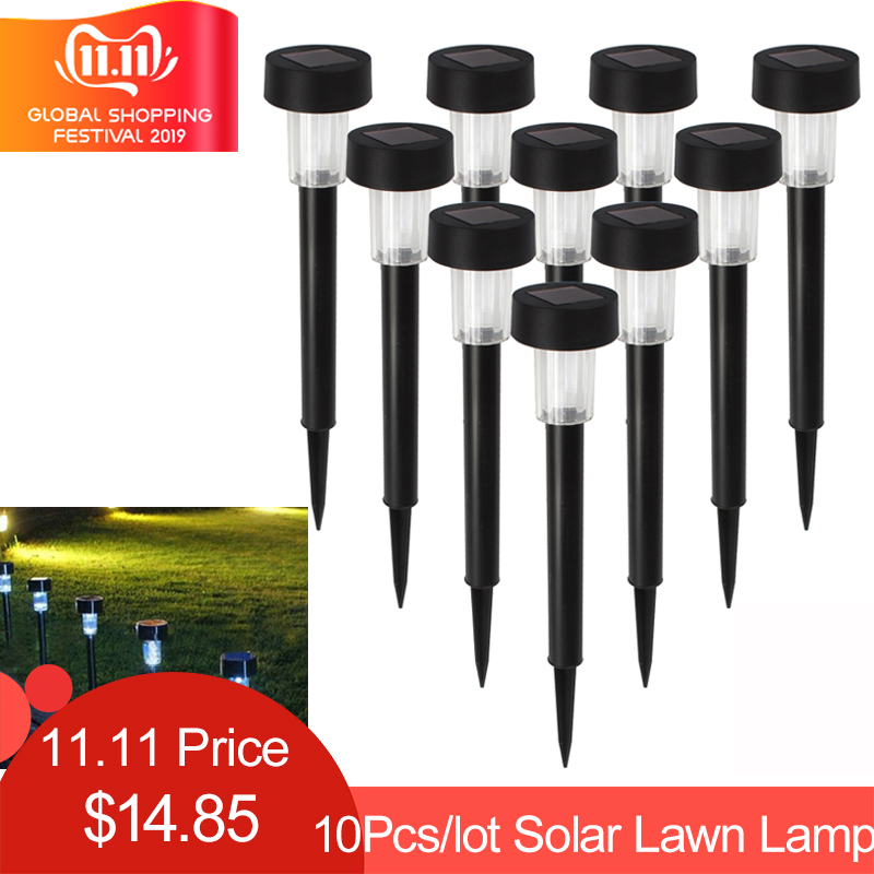 10pcs/lot LED Solar Landscape Powerd Light Waterproof Outdoor Solar Lamp Sun Light Landscape Spotlight for Garden Yard Path