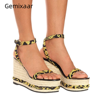 Printed Flower High Platform Sandals Women Ankle Strappy Straw Knitted Wedges High Heel Shoes Summer Runway Shoes Woman