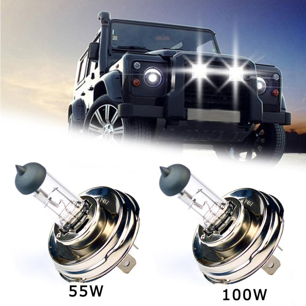 Alta qualidade 2 pc (1 par) h4 p45t 12v 50/100w vidro claro 3800k faróis novo carro lâmpadas led iluminação brilhante frete grátis
