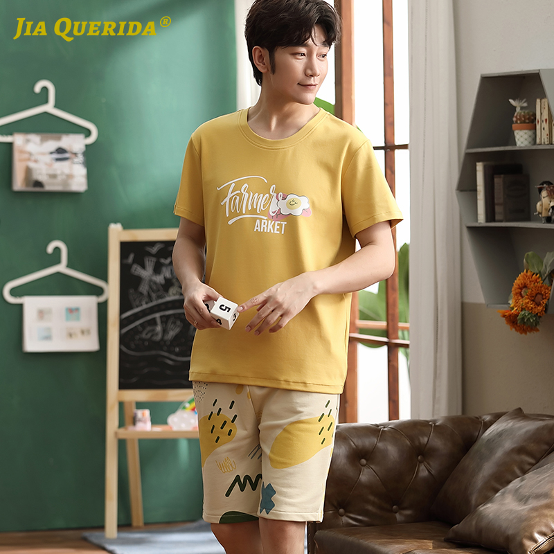 Pj Set Pj S New Pajamas Set Homesuit Homeclothes Fashion Style Short Sleeve Short Pants Yellow Top Printing Pants Sleepwear
