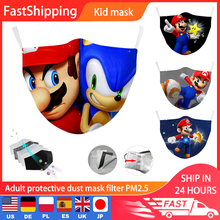 Children Masks Washable Super Mario Print Reusable Cotton Fabric Mask Protective PM2.5 Filter Face Mask Windproof Mouth Mask