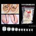 500 шт., искусственные ногти с полным покрытием, акриловые лапки для ногтей, французские Типсы для педикюра, сделай сам, декор для ногтей