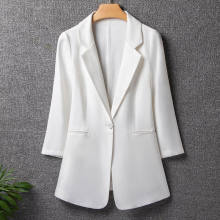 Black White 3/4 sleeve Women Suit Jacket 2020 Spring Summer Slim Office Women Outerwear Plus size 7XL Casual Female Blazers Coat(China)