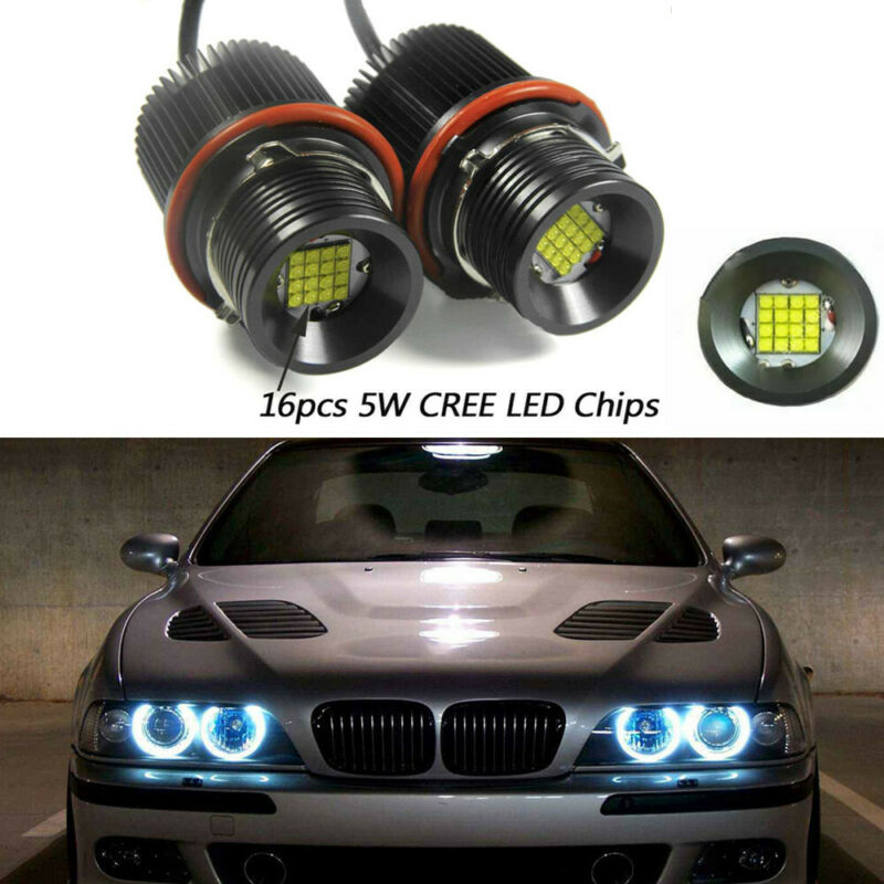 2pcs Car 16 LEDs Angel Eye Ring Marker Light Bulbs Xenon White 7000K 2400LM For BMW E39 E60 E61 E87 E53 E63 E65 Car Stylish