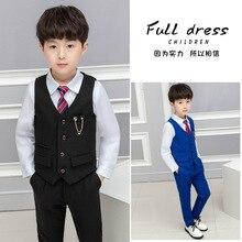 3pcs Set Spring Autumn Children's Leisure Clothing Sets Baby Boy Clothes Vest Gentleman Suit For Weddings Formal Clothing Suits
