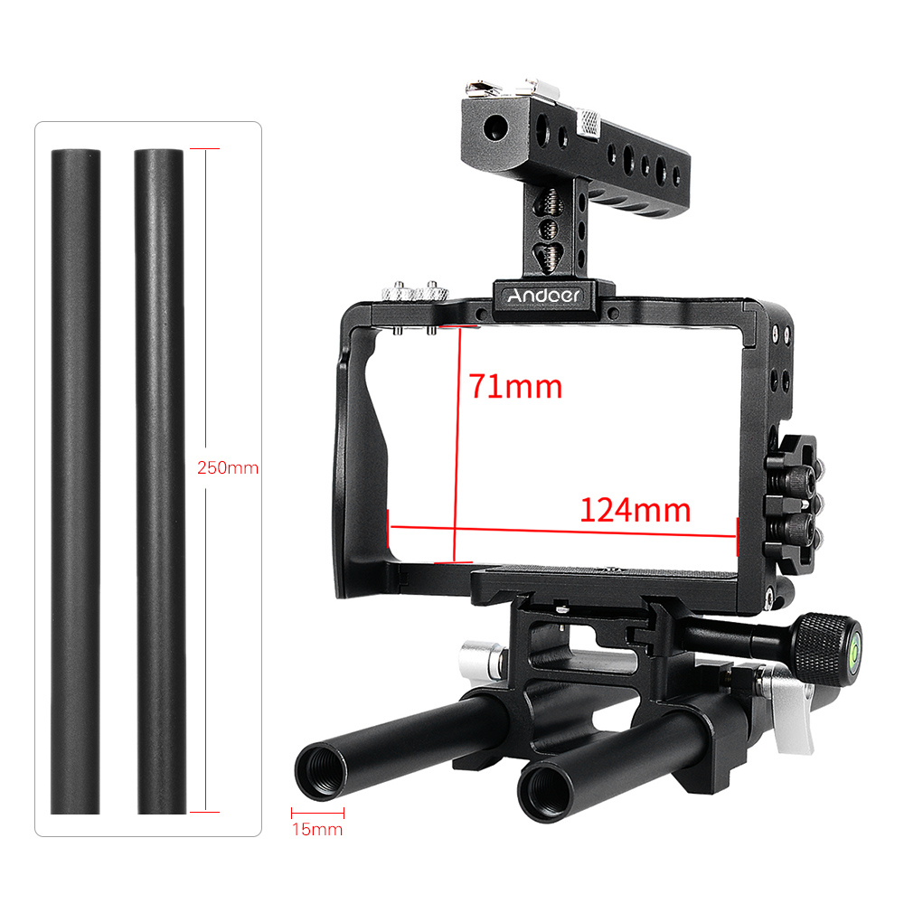 Andoer Professional Video Cage Rig Kit Film Making System w/15mm Rod for Sony A6000 A6300 A6500 ILDC Mirrorless Camera Camcorder