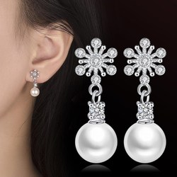 NEHZY 925 sterling silver new Stud Earrings High Quality Retro Simple Cubic Zirconia Hot Sale Earrings Pearl Jewelry