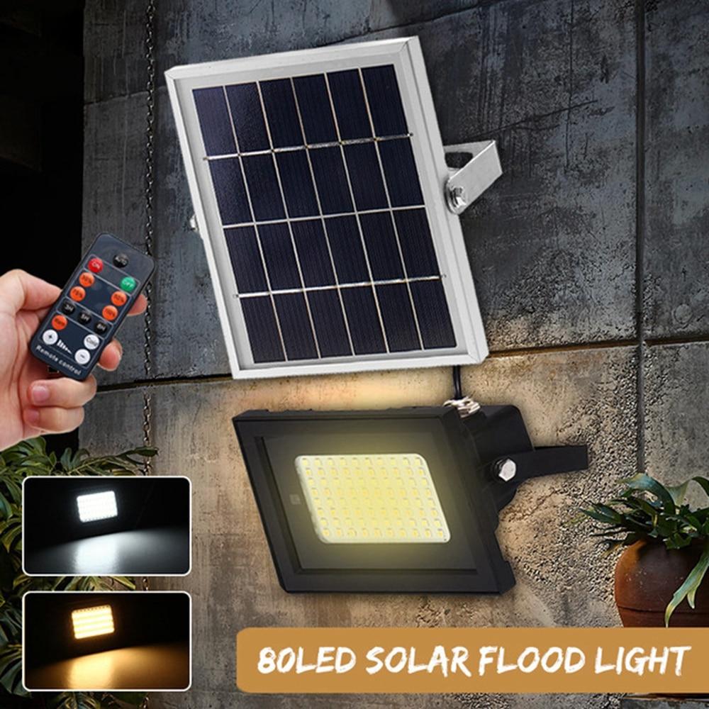 Jiguoor 80LED Remote Control Solar Panel Floodlight Night Light Waterproof Outdoor Floodlight Adjustable White/Warm White