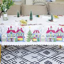 Polyester Printed Christmas Fabric Tablecloth Christmas Tablecloth Beautiful Wedding Home Decoration Restaurant Fashion(China)