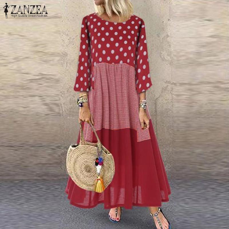 ZANZEA Women 3/4 Sleeve Polka Dot Printed Sundress Bohemian Cotton Linen Dress Plus Size Vintage Patchwork Vestido Kaftan Femme