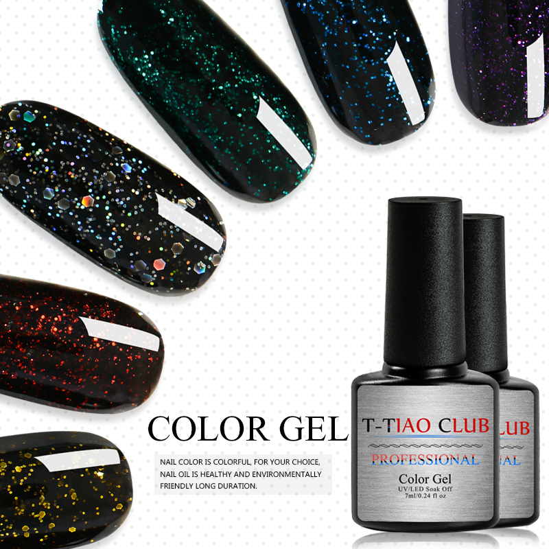 T-TIAO CLUB 7ml Nail Lacquer Polish Sequin Hybrid Varnishes Glitter Gel Nail Polish Long Lasting Soak Off Nail Art Lacquer