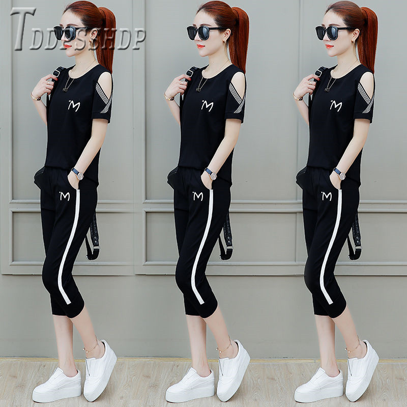 2020 New Loose Plus Size Women Sets Short Sleeve T Shirt And Pants Female Sets