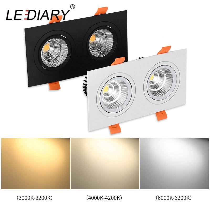 LED IARY LED Double tête Spot de plafonnier à LED cob 110 V-220 V 3W 7W 12W plafond encastré Grille lumière Spot Downlights 3000 K/4000 K/6000 K
