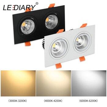 LEDIARY LED doble cabeza LED Downlight COB de 110 V-220 V 3W 7W 12W techo rejilla de luz empotrada lugar Downlights 3000 K/4000 K/6000 K