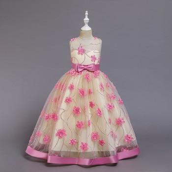 Niños Niñas encaje bordado elegante boda flor niña vestido princesa fiesta desfile Formal sin mangas encaje tul