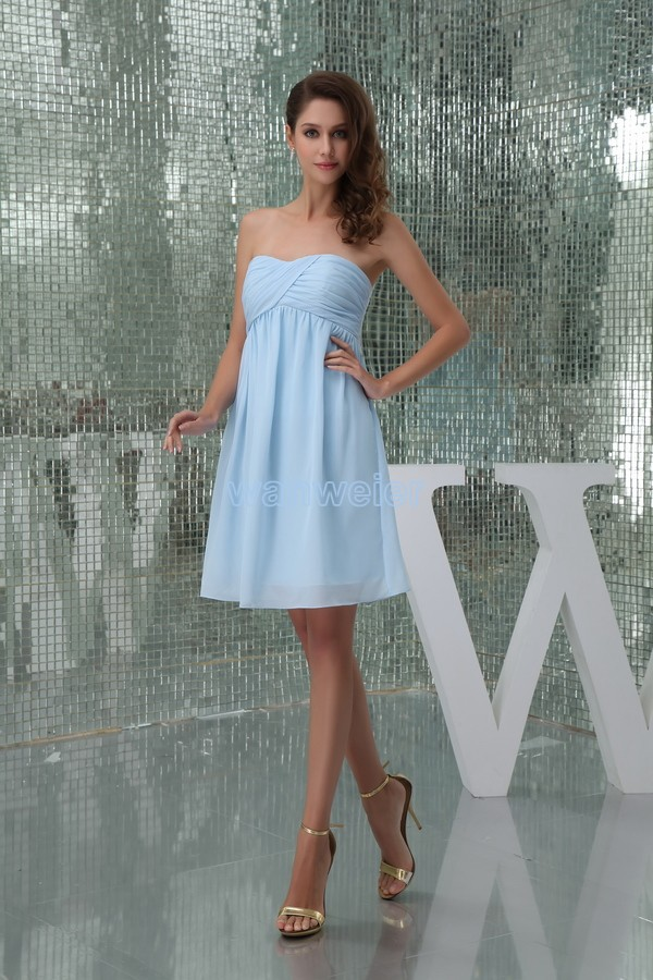 Free Shipping 2016 New Hot Sale Bride Costume High Quality Design Maid Dresses Short Pleat Blue Sexy Chiffon Bridesmaid Dresses