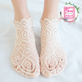 restonic wa Children Korea Cute Japanese Spring Summer Autumn Lace Tide Thin Cotton Gauze Transparent Socks Tube 5 Pairs image