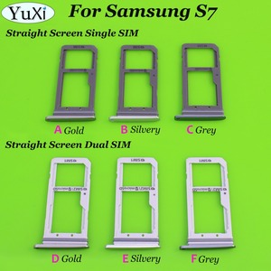 3 Color Dual / Single Sim Tray For Samsung Galaxy S7 G930 G930F SIM Card Tray Holder Slot Replacement Part(China)