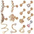 1pcs Surgical Steel Crystal Gem Zircon Heart Shape Stud Ear Tragus Cartilage Helix Lobe Earring Woman Cute Body Piercing Jewelry
