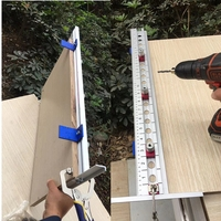 Broca autoajustable-Localizador de punzón 2 en 1, Kit de guía, plantilla de posicionamiento, herramientas de carpintería