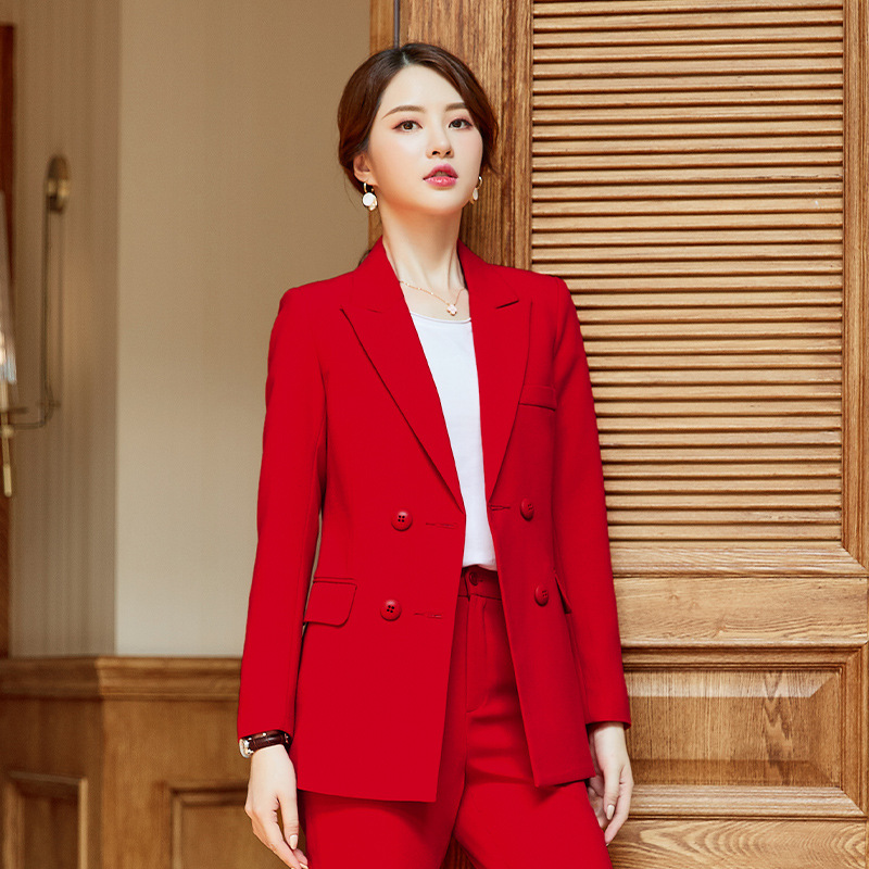High Quality Temperament Business Professional Women's Suit 2019 Autumn And Winter New Slim Jacket Large Size Female Pants Suit