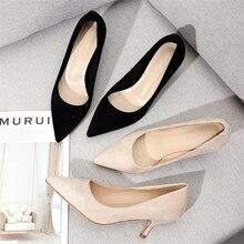 Wysokie obcasy buty kobieta 2020 wiosna urząd Lady małe obcasy sztuczny zamsz Pointed Toe wsuwane buty stałe pompy kobiety Party ślubne buty na obcasie