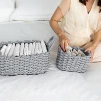New Desktop DIY Rope Storage Basket Sundries Organize Folding Linen Toy Storage Box Underwear Cosmetic Organizer Laundry Basket
