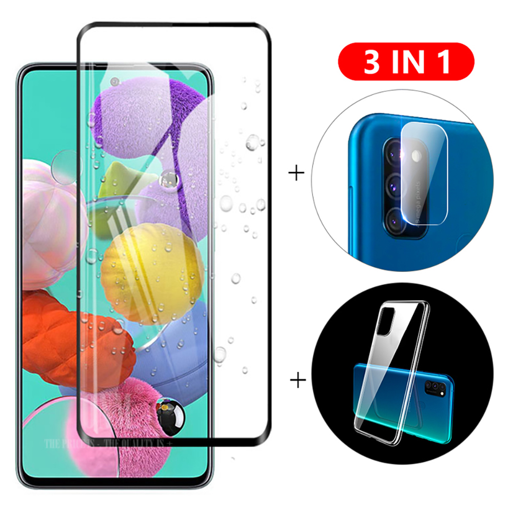 3-In-1 Glass + Case For Samsung Galaxy A51 Screen Protector Tempered Glass For Galaxy A51 SM-A515F Camera Protector Glass