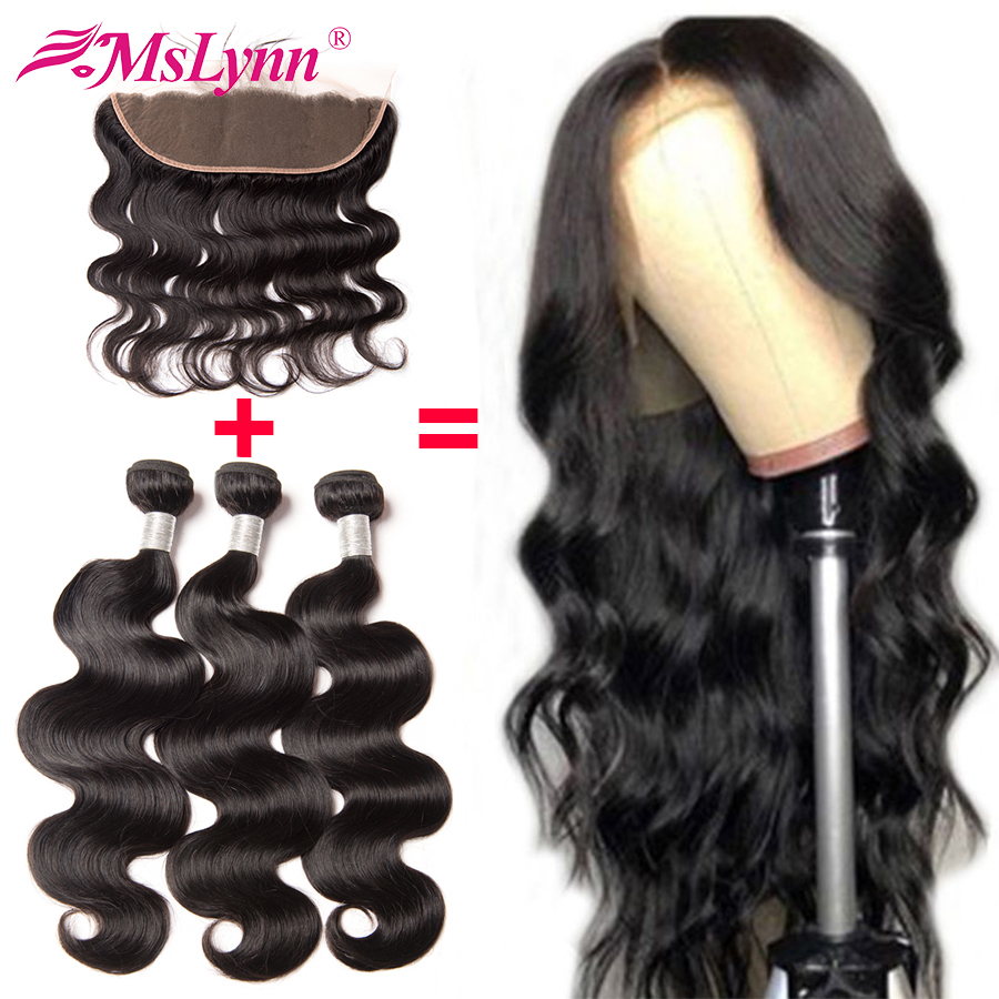 Body Wave Bundles With Closure Free Customized 13x4 Lace Frontal Human Hair Wigs Brazilian Remy Hair Bundles With Frontal Mslynn