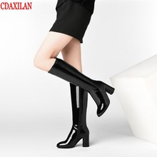 CDAXILAN new to womens boots genuine cow patent leather high-heels knee-high  square heel side zipper ridIng Equestrian