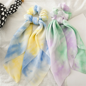 Multicolor Tie-dye Hair Ties Ribbon Hair Bands Women Colorful All-match Hair Accessories Two in One Hairband Ponytail Scarf 2020