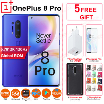 """Global ROM OnePlus 8 Pro 5G mobile phone 120Hz 6.78"""" 8GB 128GB Snapdragon 865 2K 48MP+48MP NFC IP68 30W Original 5G cell phones"""