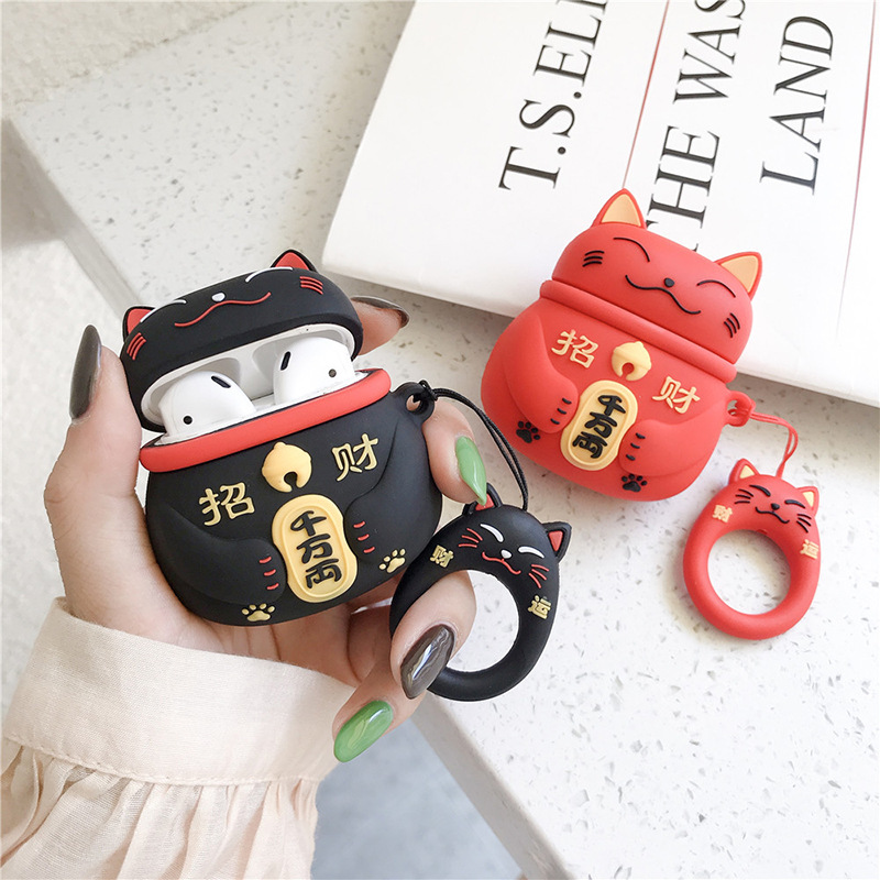 Lucky Cat Bluetooth Earphone Case Protective Waterproof Headset Accessories For Airpods Cases Charging Box With Hooks