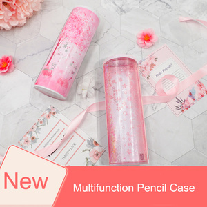 Image 5 - Quicksand Translucent Creative Multifunction Cylindrical ipen Pencil Box Case Stationery Pen Holder 2019 Newmebox Pink Blue Star