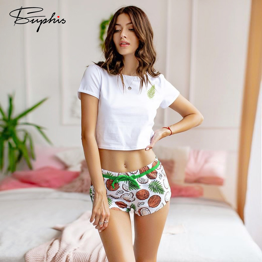 Suphis Coconut Print Sexy Pyjamas Women Pajamas Shorts And T Shirt Short Sleeve Summer Sleepwear O Neck Lace Up Nightwear Sets