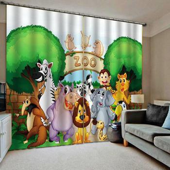 Cartoon Zoo Shower Curtain Fabric Bathroom Decor For Children's room Window Curtains