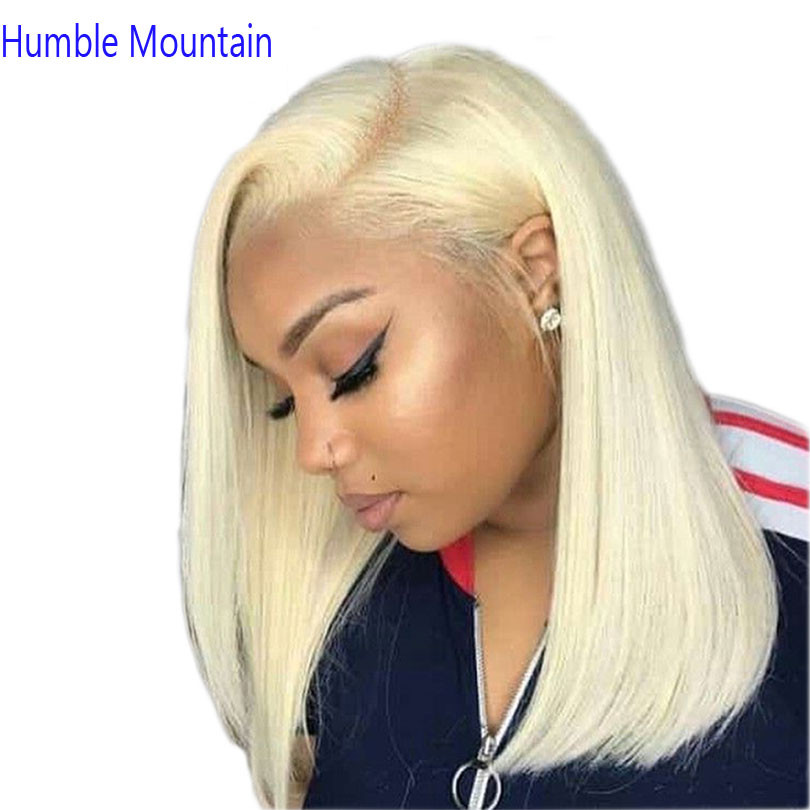 180Density Brazilian Hair 613 Blonde Full Lace  Wig Short Bob Human Hair Wigs Straight For White Girl Ombre 1B613, ,613 Lace Wig