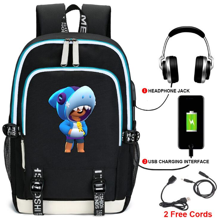 Backpack Stars Leon Game Bag Travel Backpack USB Charging Backpack With Headphones Hole Student Bag