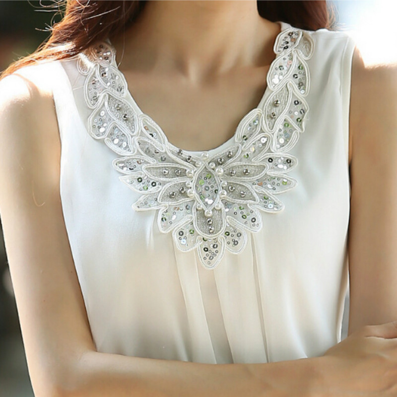 Fashion Clothing New Women Chiffon Blouse Sleeveless White Shirt Office Blouse For Work Plus Size blouses S-6XL