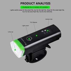 Image 3 - Ouest vélo avant vélo lumière LED Rechargeable par USB vélo lumière étanche cyclisme phare escalade sécurité lampe de poche lampes